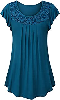 Ruched Blouse Women Ladies Solid Lace Patchwork Short Sleeve Tops Shirt