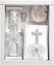 White Pearl Cross Baptism Candle Set w/New Testament