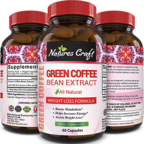 Best Seller Green Coffee Bean Extract for Weight Loss Dietary Supplement Maximum Strength Vitamins No. 1 Antioxidant Increase Energy Boost Metabolism Control Hunger for Women and Men