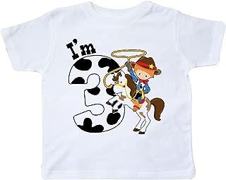 I'm Three-Cowboy Riding Horse Birthday Toddler T-Shirt