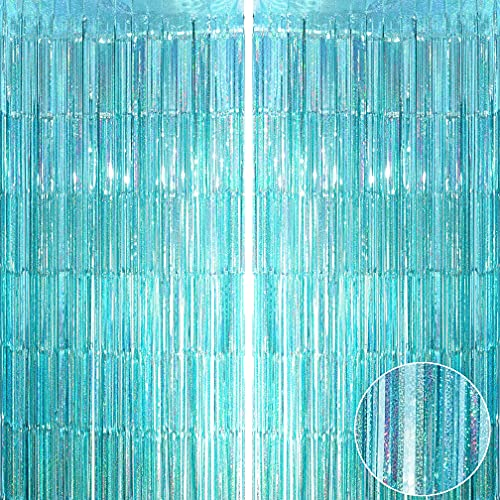 Teal Blue Tinsel Foil Fringe Curtains - Under The Sea Mermaid Ocean Theme Birthday Baby Shower Wedding Anniversary Graduation Summer Beach Pool Party Celebration Photo Booth Backdrop Decoration, 4pc