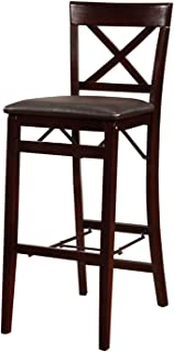 Linon Triena X Back Folding Bar Stool, Brown