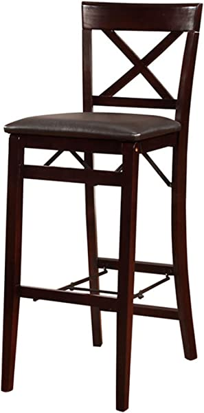 Linon 01851ESP01ASU Triena X Back Folding Bar Stool Brown
