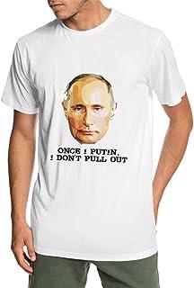 Tシャツ Once I Putin, I Don't Pull Out プーチン 語録 メンズ 丸襟 アウトドア 魅力的な デザイン コットン100% 男性 カジュアル服