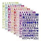 SIMUER 8 Blätter Alphabet Buchstaben Aufkleber Selbstklebende Fun Stickers-adesivi Deko für Grußkarten Aufkleberbogen 8 Farben