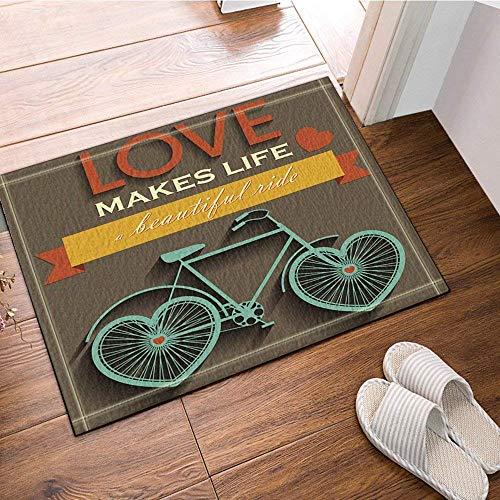 SESILY Tappeto da Bagno per San Valentino, Amore per Bici a Ruota a Cuore Rende la Vita Una Bellissima videocassetta, zerbino Antiscivolo