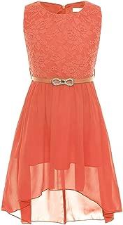 iiniim Big Girls' Lace Chiffon Wedding Pageant Party Princess Flower Dress, Belt