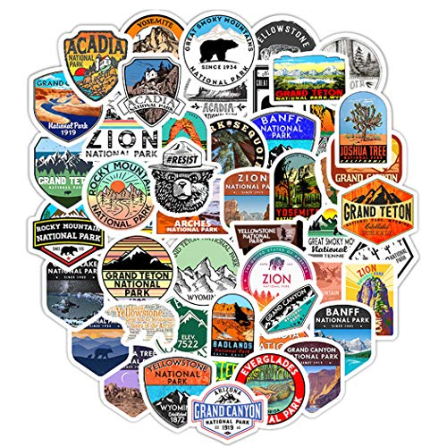 National Park Stickers for Water Bottles 50 Pcs Cute,Waterproof,Aesthetic,Trendy Stickers for Teens,Girls Perfect for Waterbottle,Laptop,Phone,Travel Extra Durable Vinyl