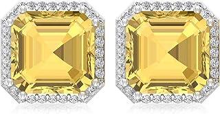4.2 Ct Asscher Shape Citrine Stud Earring, Bridesmaid Statement Earring, IGI Certified Diamond Bridal Wedding Earring, IJ-SI Diamond Vintage Earring, Screw Back