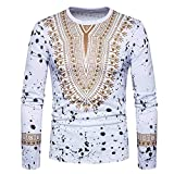iLXHD Men's Casual African Print O Neck Pullover Long Sleeved T-Shirt Top Blouse(White,XL)