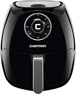 Chefman 6.8 Quart Air Fryer Oven Space Saving Flat Basket, Oil Hot Airfryer with 60 Minute Timer & Auto Shut Off, Dishwasher Safe Parts, BPA-Free, Family Size, X-Large, Black