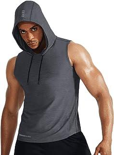 Muscle Alive Uomo Palestra Slim Manica Lunga Bodybuilding Felpe con Cappuccio Cotone e Spandex