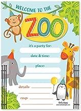25 Zoo Birthday Invitation, Little Kids Jungle Safari Party Invite, Elephant Animal Giraffe Bday Theme Idea, Boy or Girl Wild Monkey Penguin Baby Shower Supplies, Printed or Fill in The Blank Card