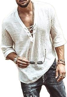 Macondoo Men's Lace Up V Neck Solid Casual Half Sleeve Shirts T-Shirts