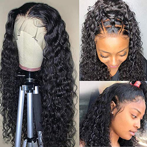 Lace Front Human Hair Wigs Brazilian Water Wave 360 Lace Frontal Wigs for Black Women 150% Density Human Hair Pre Plucked with Baby Hair Natural Black