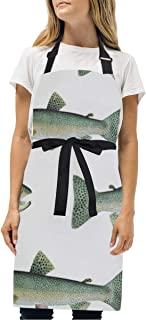 BeliveFinds Cutthroat Rrout On White Adjustable Bib Apron with Pockets Cooking Kitchen Party Aprons
