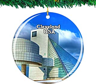 Weekino USA America Rock & Roll Hall of Fame Cleveland Christmas Ornament City Travel Souvenir Collection Double Sided Porcelain 2.85 Inch Hanging Tree Decoration