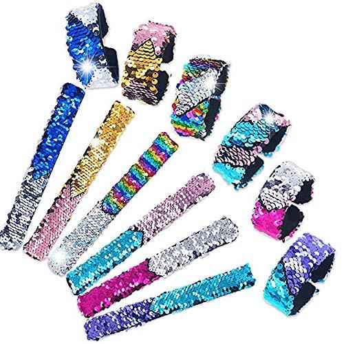 ZARRS Pulsera de Lentejuelas, Brazalete de palmada de 6 Piezas Pulsera de Sirena Reversible de 2 Colores con Forro de Terciopelo para niños Fiesta de cumpleaños de Favores Regalos de cumpleaños