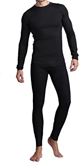 Amerian Causal Long Johns for Men, Soft Cotton Shirt/Pants 2PC Fleece Thermal Set