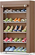 5-Tier Shoe Rack 15 Pairs Shoes Storage Organizer Cabinet with Dust-proof Non-woven Fabric Cover Coffee
