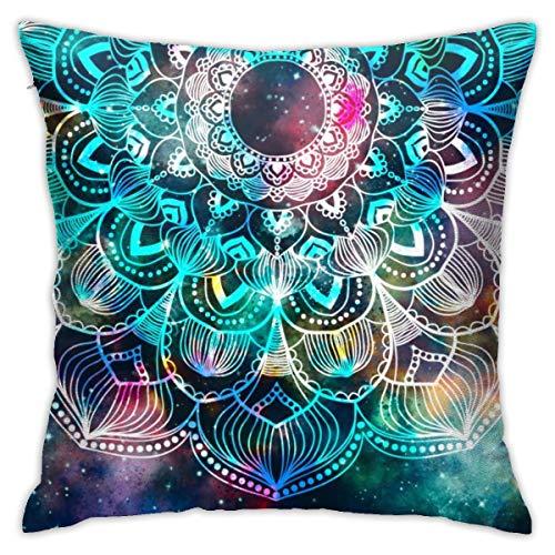 Bargburm - Federa per cuscino con mandala per henné, in cotone, decorazione per la casa, 45,7 x 45,7 cm
