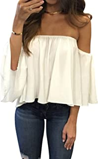 4e25db16c6 Women s Summer Off Shoulder Blouses Short Sleeves Sexy Tops Chiffon Ruffles  Casual T Shirt