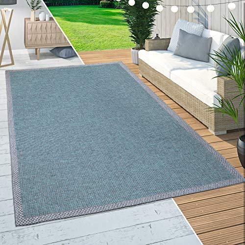 Paco Home Alfombra Exterior Interior Balcón Terraza Cocina Diseño Ribetes Turquesa, tamaño:300x400 cm