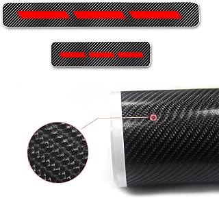 4D Carbon Fiber Car Door Sill Protector Scuff Plate Guard Stickers for KIA Rio Ceed/GT/SW/PRO Cerato Venga Carens Soul Sportage NIRO Optima Sorento 4Pcs Red
