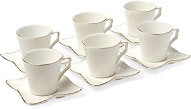 12-pc White Espresso Set, Crinkle Skin Pattern with Gold Line Edge, 3 Oz. Bone China Cups with 4