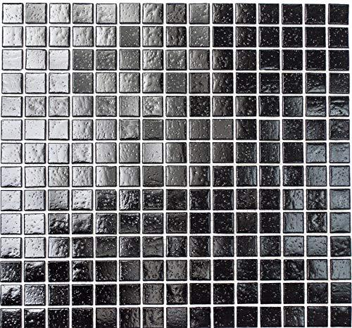 Glasmosaik Mosaikfliese schwarz für BODEN WAND BAD WC DUSCHE KÜCHE FLIESENSPIEGEL THEKENVERKLEIDUNG BADEWANNENVERKLEIDUNG Mosaikmatte Mosaikplatte - 10 Matten = 1 qm