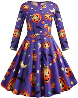 Mayunn Kids Baby Girls Halloween Long Sleeve Printed Vintage Princess Gown Prom Swing Dress Outfits Sets Clothes(3Years-12Years)