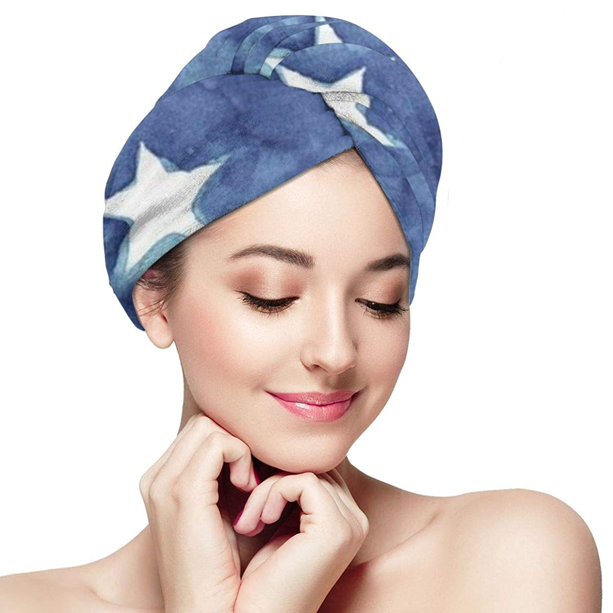 公爵機械的体現するStars Blue ヘアドライタオルMOBUHITA タオルキャップ 吸水 速乾 タオル 軽量 ヘアターバン 強い吸水性 髪に優しいタオル お風呂上がり バス用品