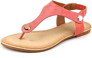 Mu Dan Women Nail Casual Wear Gladiator Flat T-Strap Sandals (8 B(M) US, Coral)