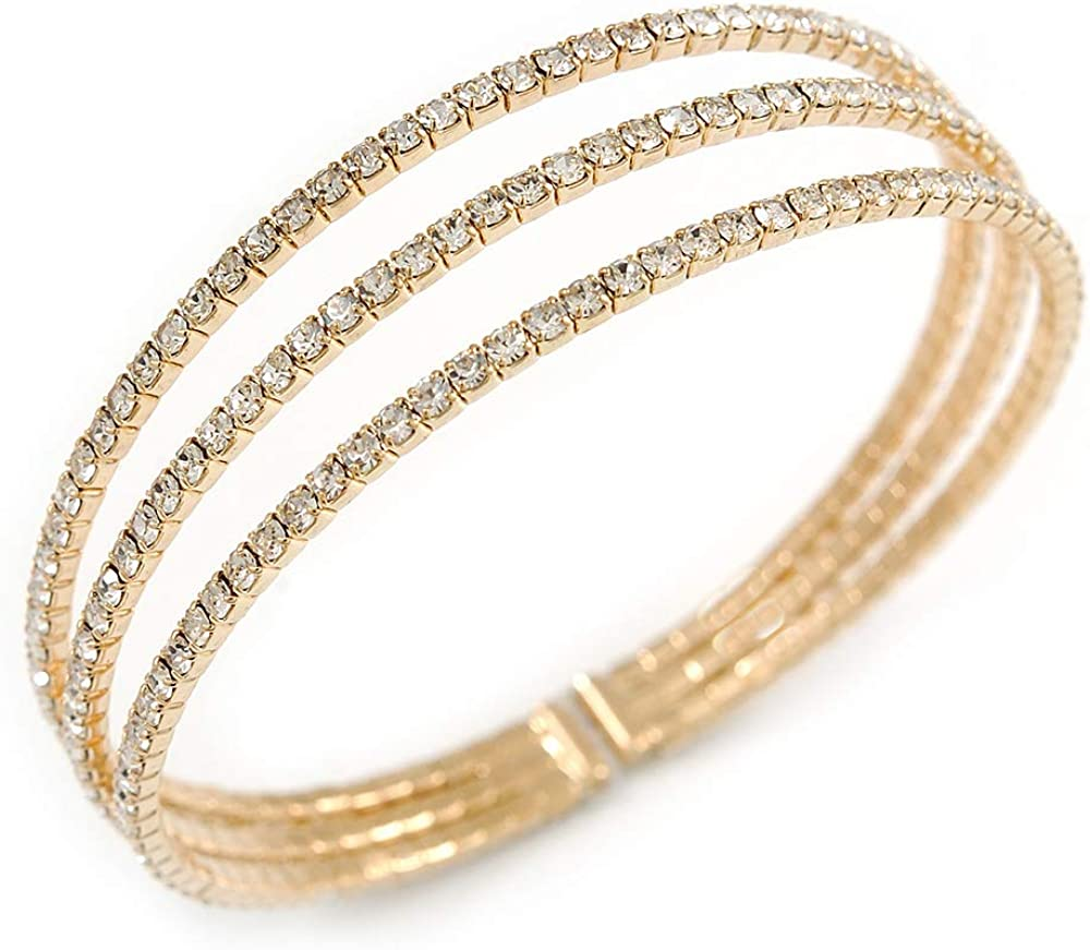 Avalaya Delicate 3 Strand Clear Crystal Flex Cuff Bracelet in Gold Tone Metal - Adjustable