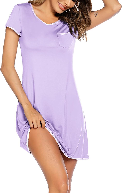 Ekouaer Womens Nightgown Sleep Shirt Dress Satin Patchwork Short Sleeve Sleepwear with Pocket