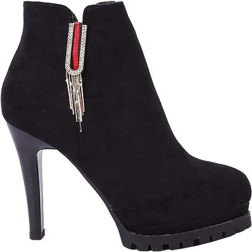 AJUNR Transpirable zapatos de mujer Botones de Metal con Alto 10cm Señaló el Fondo botas Cortas Super High Heels Impermeable mesas Martin botas Delgadas y Finas botas