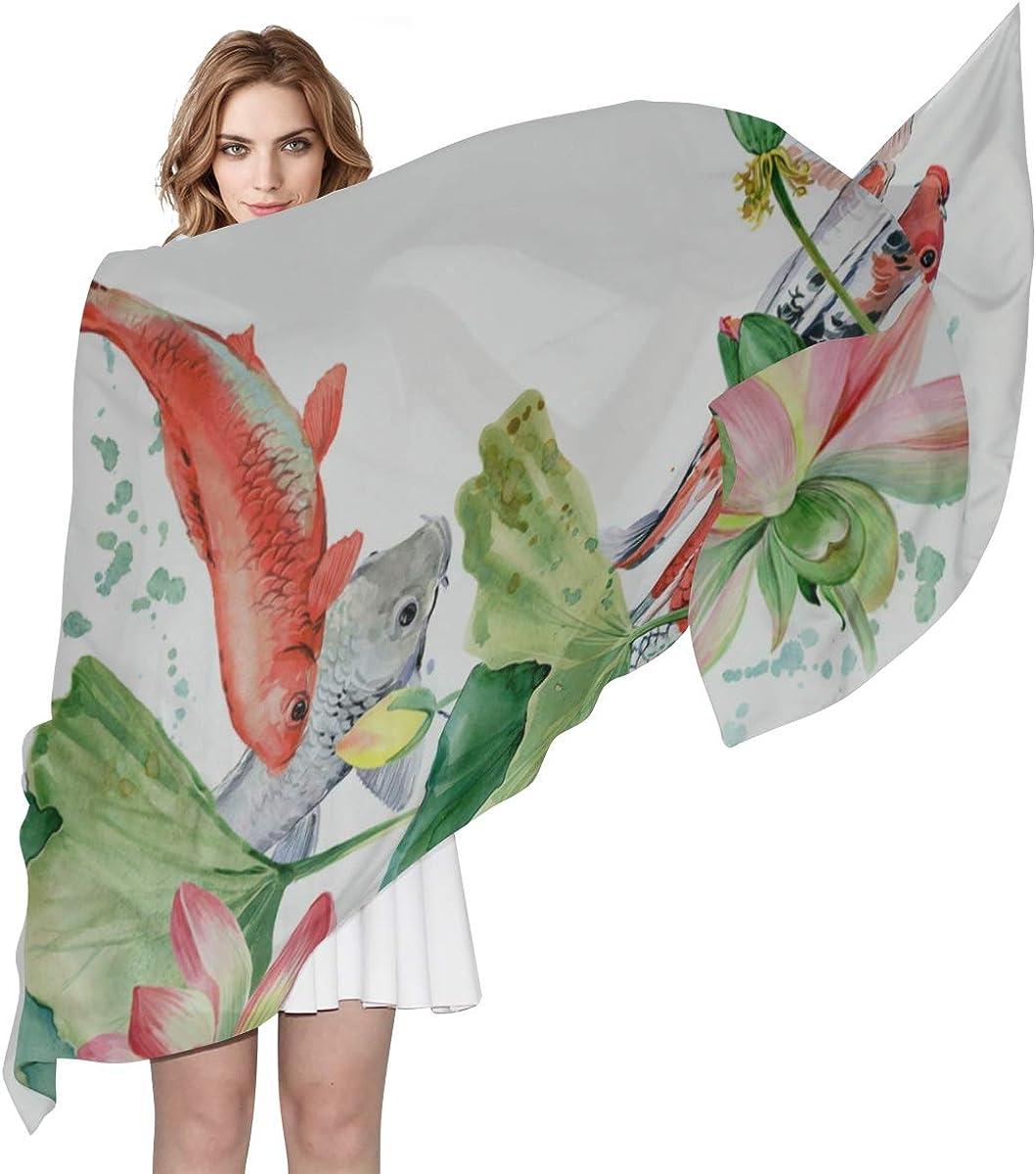 Lightweight Large Scarf Chinese Golded Koi Fish Ladies Scarfs Shawl Wrap Kids Lightweight Print Scarves Scarf Toddler Fashion Scarfs For Women Lightweight