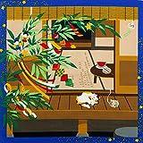 [キステ] 風呂敷 ふろしき 三毛猫みけのゆめ日記 12ヶ月の季節柄 猫 綿100% 50cm 小風呂敷 (7月 みけの七夕)