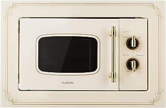 Klarstein Victoria 20 - Microondas, Diseño retro, 20 litros, Microondas de 800 W/Función grill de 1000 W, 3 funciones predeterminadas, Acero inoxidable, Incluye marco para montaje, Marfil