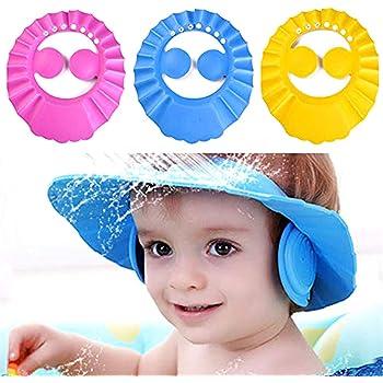 JIUJIU gorro de ducha de beb/é para,cepillo de silicona champ/ú para beb/és,suave ajustable con protecci/ón para los o/ídos Gorro de ducha,evita que los ojos se llenen de agua y champ/ú Protege para el