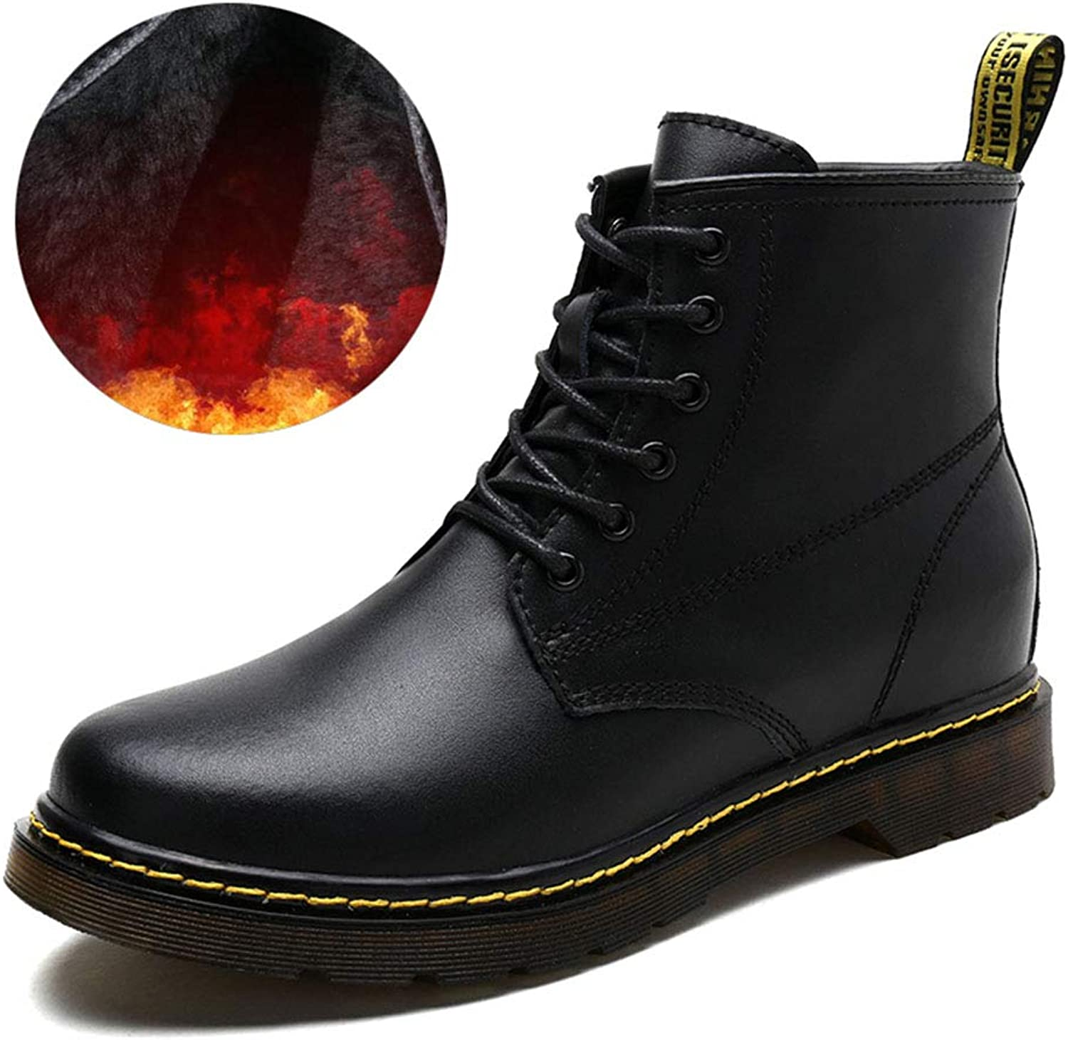 Men's Boots, Leather Fall Winter Martin Boots Retro Plus Velvet Anti-Slip Height Increase Outdoor Tooling Boots Trend High shoes Comfortable Running Boot Walking Boot Hiking Boot High-Top Boot XUE