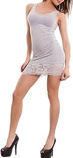 Toocool - Top Miniabito Donna Vestitino Jersey Fondo Pizzo Floreale Abito Canotta AS-0083