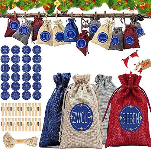 Xinmeng Calendario de Adviento,Bolsas Regalo Pequeñas con 24 Pegatinas, Bolsas de Fiesta Hechas de Tela de Lino, Bolsas de Bricolaje para Bodas, Bolsa de Regalo Navidad para el Hogar(4 Colores)