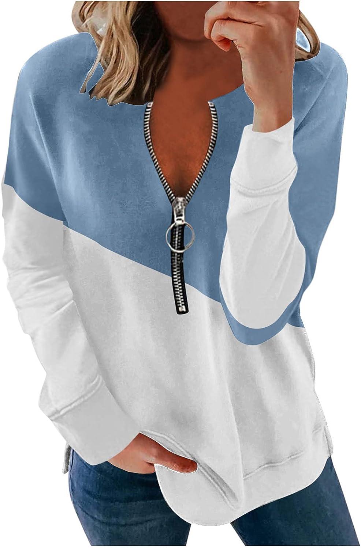 Jaqqra Sweatshirts for Women Casual 1/4 Zipper Patchwork Sweatshirts Long Sleeve Pullover Tops Activewear Running Jacket