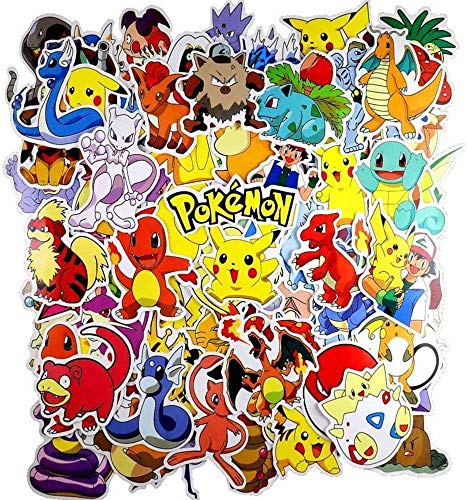UCLEVER Pokemon Stickers Pack 80pcs Graffiti Cartoon Waterproof Vinyls Decals for Laptop Cars Motorcycle Bicycle Skateboard Luggage