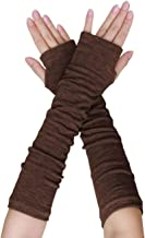 Allegra K Women Winter Acrylic Rainbow Stripe Fingerless Thumbhole Elbow Length Long Knitted Gloves