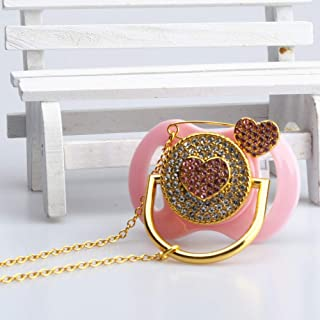 Lovely Heart Crystal Bling Draw Attention Protagonist Design Baby Shower Pacifier+Clips Set for Infants Cute Keepsake 1st Birthday Gifts