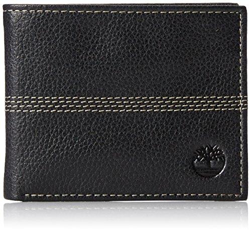 Timberland Herren Leather Passcase Wallet Sportz, Quad, Portemonnaie aus Leder, Schwarz (Vierfachstich), Einheitsgröße