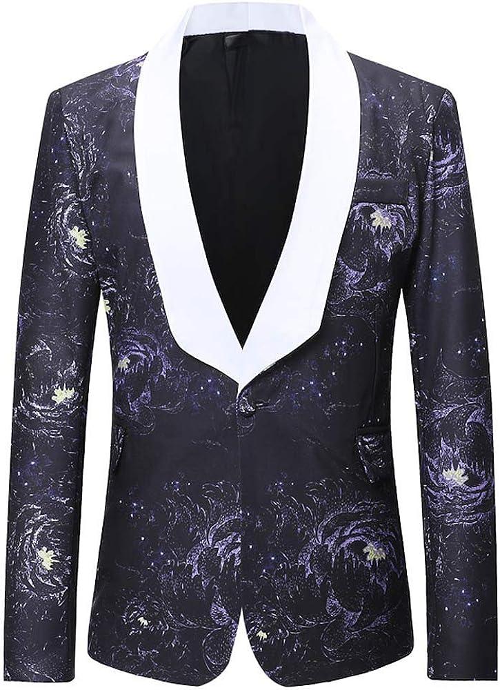 MODOQO Men's Slim Fit Tuxedo Jacket Lightweight Lapel Print for Dinner Party Wedding Prom Blazer