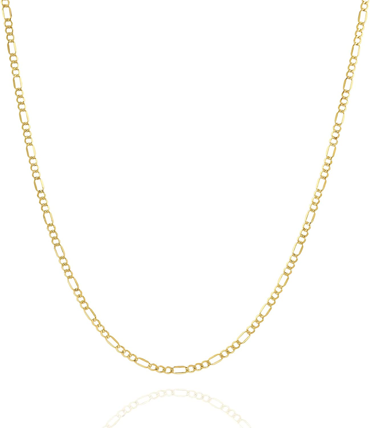 Jewelry Atelier Gold Chain Necklace Collection - 14K Solid Yellow Gold Filled Figaro Chain Necklaces for Women and Men with Different Sizes (2.8mm, 3.7mm, 4.7mm, 5.6mm)